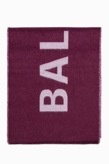 Bordeaux & White Logo Wool Scarf