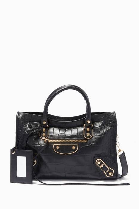 Black Small Classic Metallic Edge City Tote Bag
