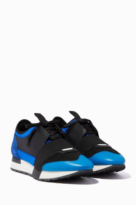 Black & Blue Race Runner Low-Top Sneakers