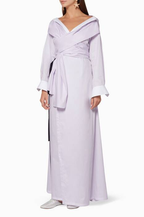 Light-Purple Wrap Asymmetric Dress