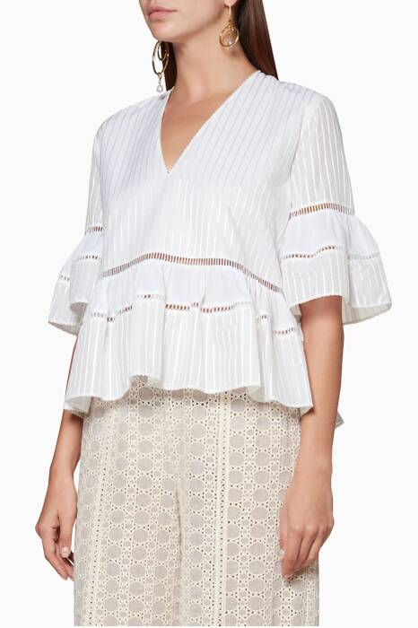 Off-White Striped Tiered Top