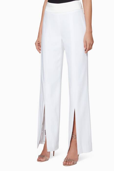 Ivory Front-Slit Satin Pants