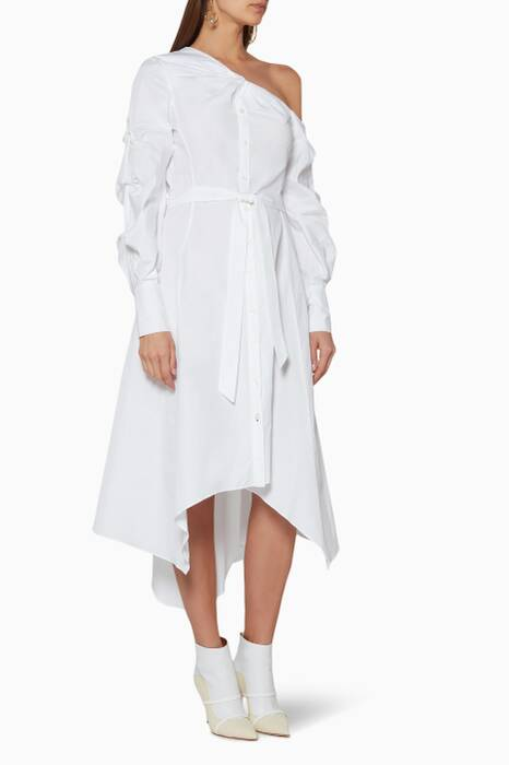 White Pleated One-Shoulder Shirt Dress