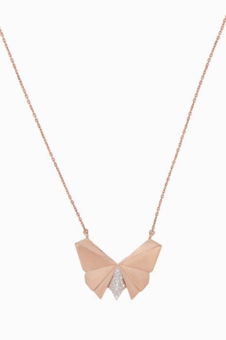 Rose-Gold Geogami Butterfly Necklace