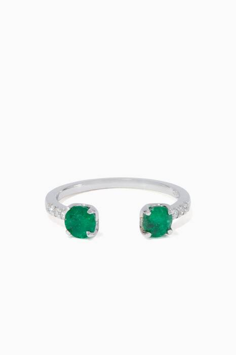 White-Gold Emeralds & Diamond Open Ring