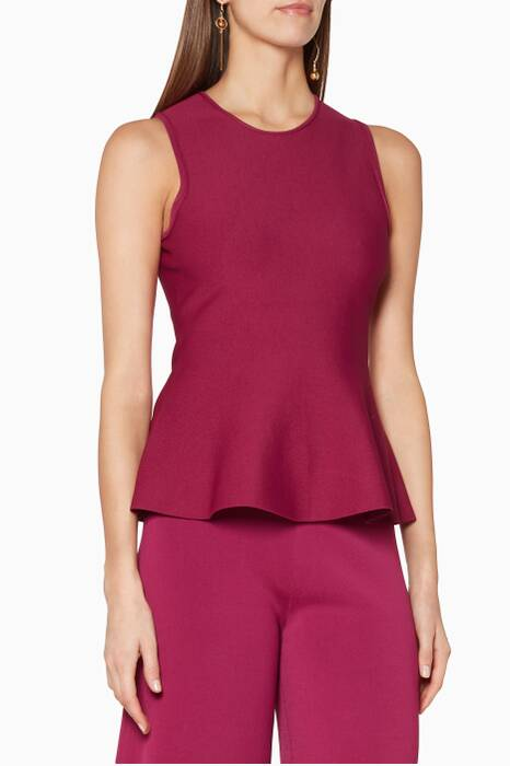 Purple Sleeveless Peplum Top