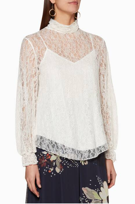 Misty-Ivory Lace Highneck Blouse