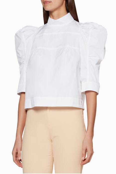 White Puff-Shoulder Blouse