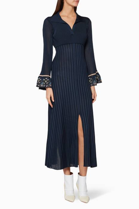 Navy Knitted Midi Dress