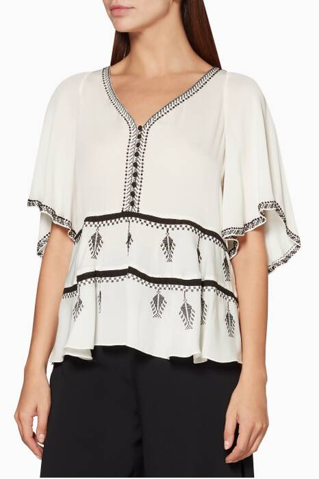 Ivory Embroidered Camille Blouse