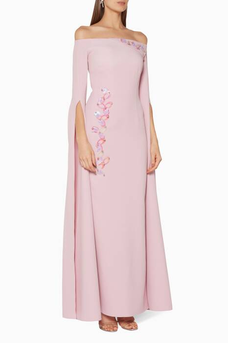 Pastel-Pink Batya Loop Embroidered Gown