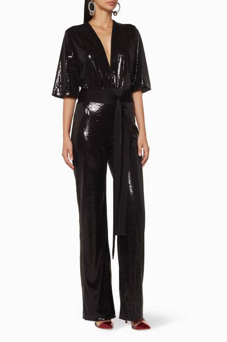 Black Sequined Galaxy Jumpsuit