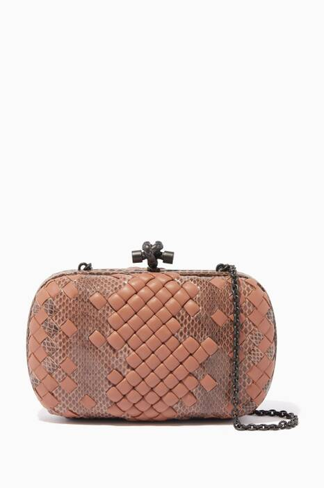 Dahlia-Pink Ayers Woven Clutch Bag