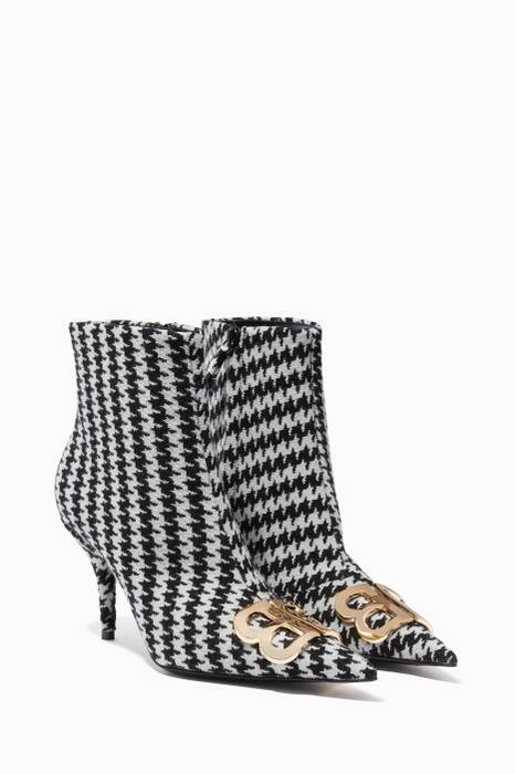 Black BB Houndstooth Point-Toe Boots