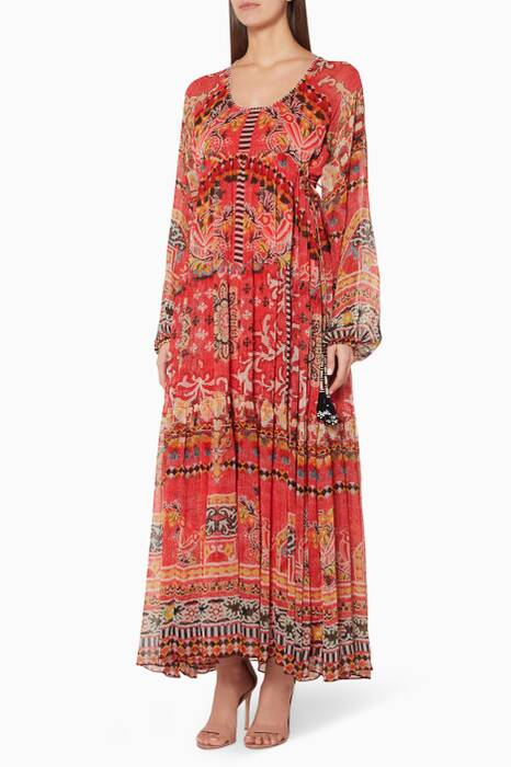 Multi-Coloured Floral-Print Maxi Dress