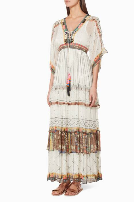 Cream Printed Maxi Dress