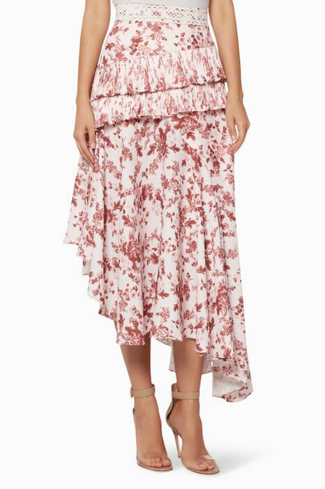 Light-Pink Floral-Print Midi Skirt