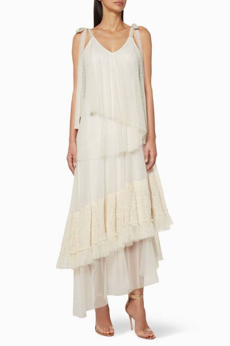 Cream Tiered Midi Dress