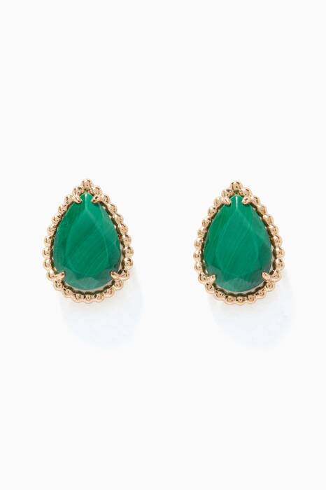 Yellow-Gold & Malachite Serpent Bohème Earrings