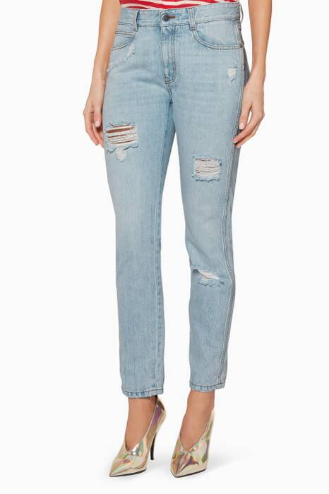 Light-Blue Distressed Boyfriend Jeans