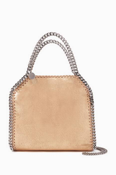 Gold Mini Falabella Chamois Tote Bag