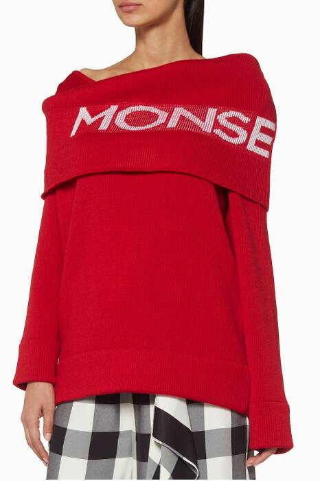 Red Logo Twist Shawl Sweater