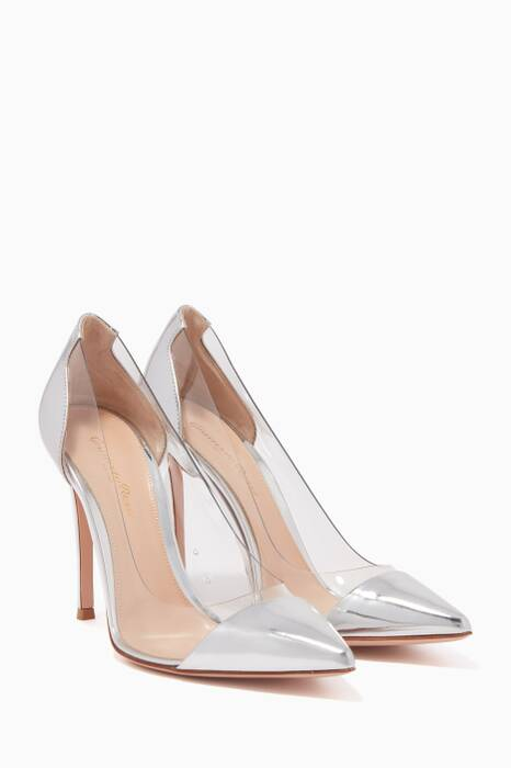 Silver Leather Plexi Pumps