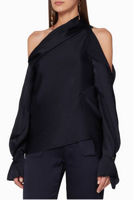 Navy One-Shoulder Driffield Top