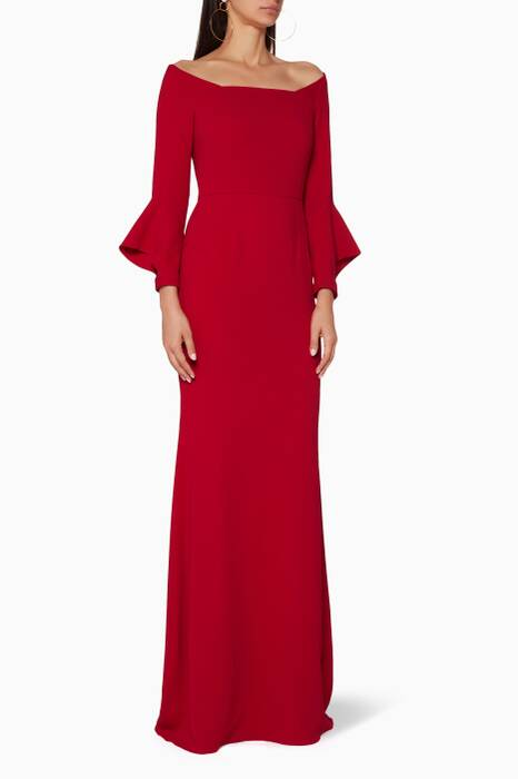 Red Flared-Sleeve Coleman Gown
