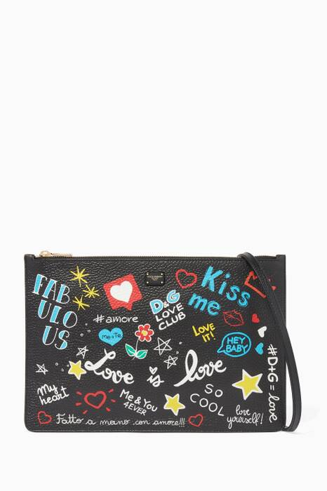 Multi-Coloured Printed Cleo Leather Clutch