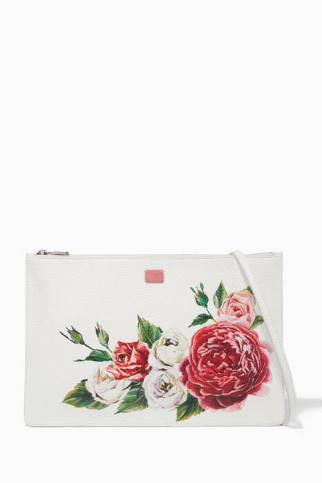 White Printed Cleo Leather Clutch
