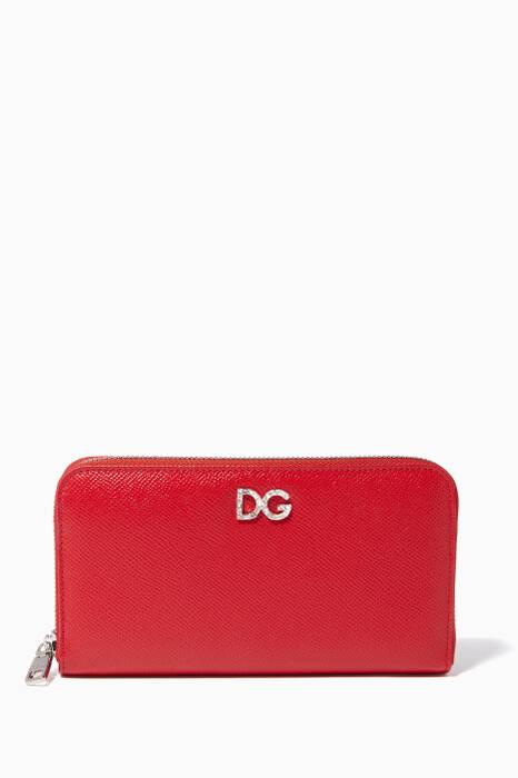 Red Crystal-Embellished Continental Wallet