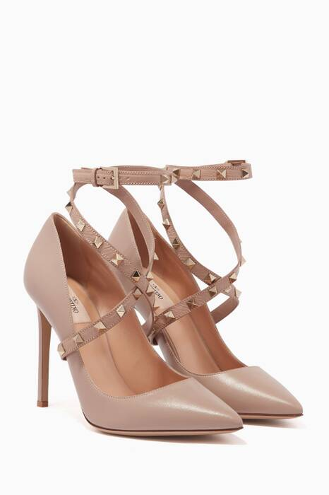 Beige Leather Rockstud Pumps