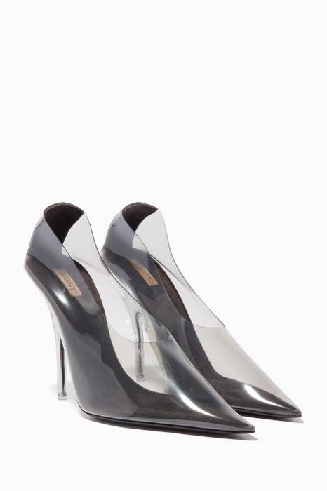 Dark-Grey PVC Point-Toe Pumps