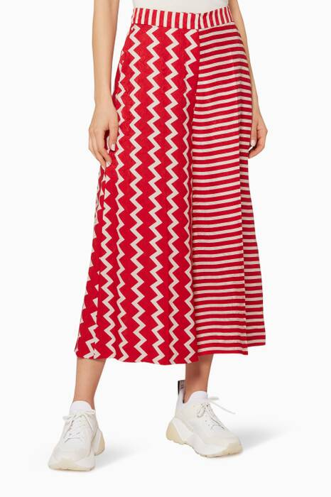 Red & White Optical-Print Jaycee Culottes