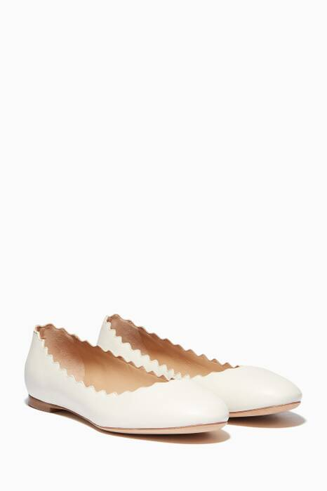 White Scallop Lauren Ballerinas