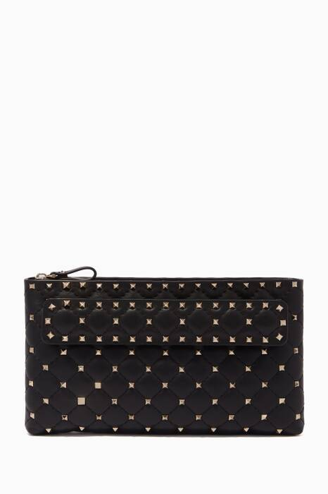 Black Nappa Leather Spike Clutch