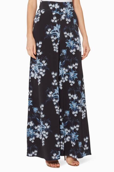 Navy Floral-Print Dream State Pants