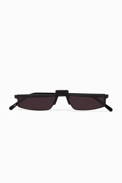 Black Muhren Rectangle-Frame Sunglasses