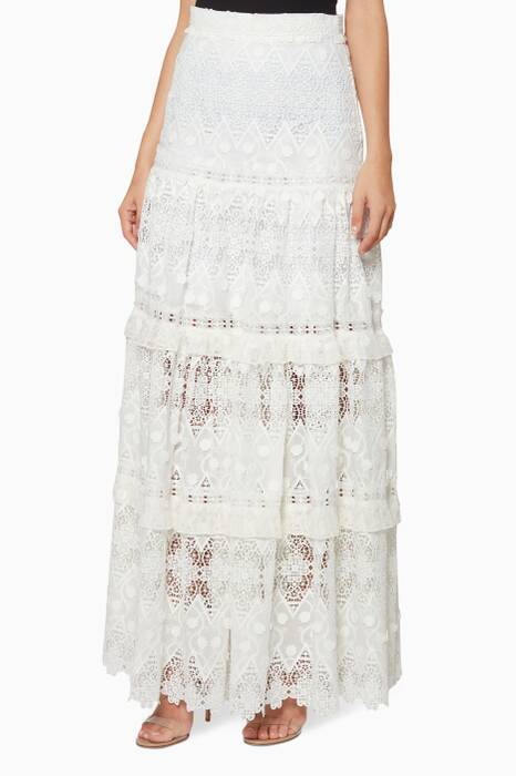 White Hisa Floral Lace Skirt