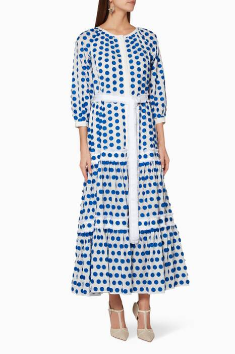 White & Blue Embroidered Gaiya Maxi Dress
