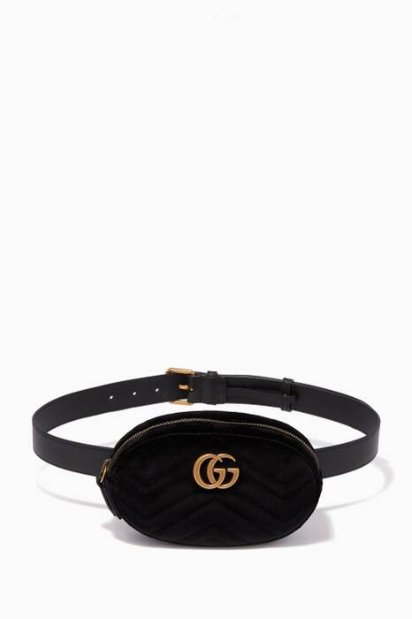 Black GG Marmont Velvet Belt Bag