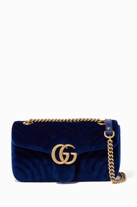 Blue Velvet Small GG Marmont Shoulder Bag