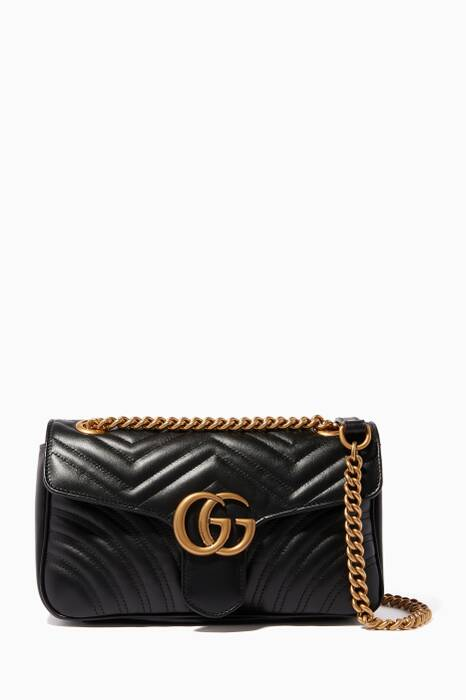 Black Small GG Marmont 2.0 Matelassé Shoulder Bag