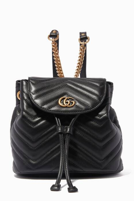 Black Mini GG Marmont 2.0 Leather Backpack