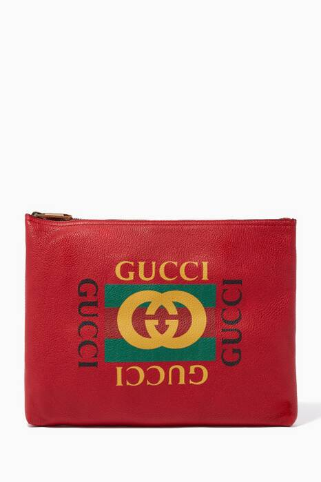 Red Leather Medium Printed Portfolio clutch