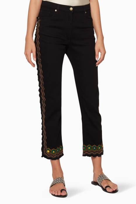Black Embroidered Frayed-Hem Jeans