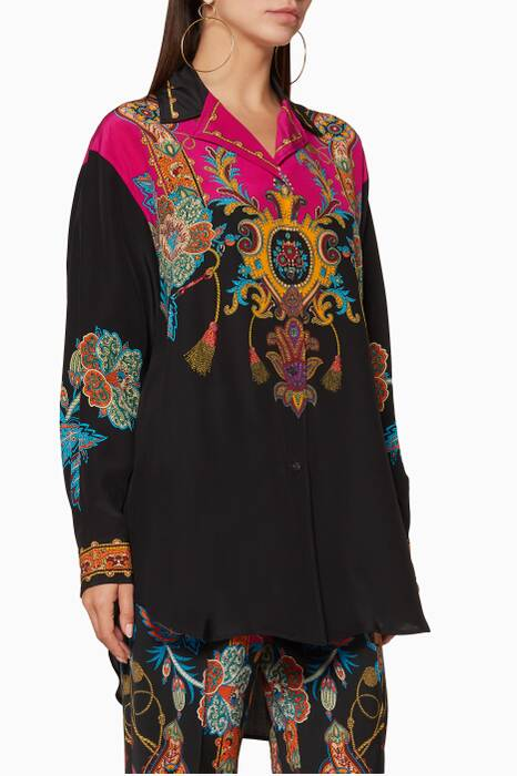 Black Printed Silk Shirt