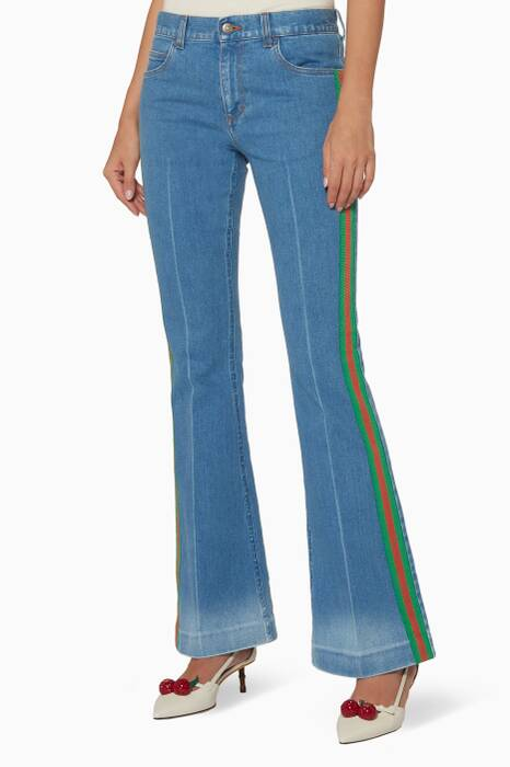 Blue Flared Stretch-Denim Jeans
