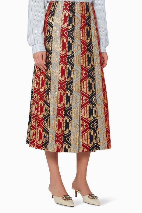 Multi-Coloured Lurex Gucci Game Wool Skirt